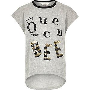 T-shirt Queen Bee gris clair pour fille