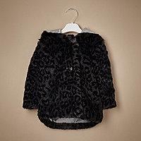 Mini girls black leopard faux fur coat