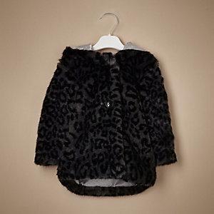 Manteau à capuche noir à imprimé léopard mini fille