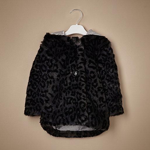 Mini girls black leopard hooded coat