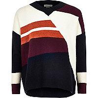 Girls burgundy block knit jumper