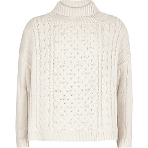 Girls cream pearl cable knit sweater