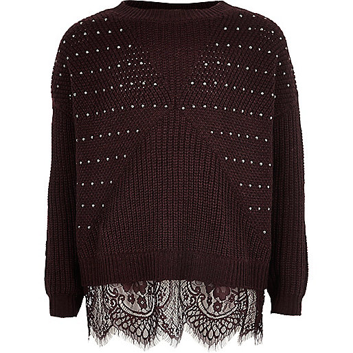 Girls Dark Red Embellished Knit Lace Jumper