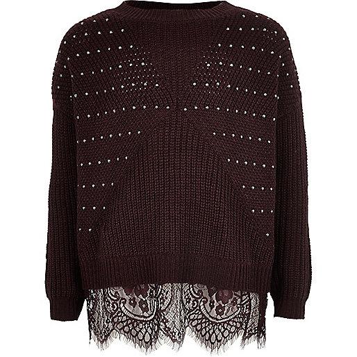 Girls burgundy embellished knit lace jumper