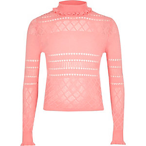 Girls pink pointelle ruffle turtleneck jumper