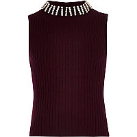 Girls burgundy sleeveless knit top