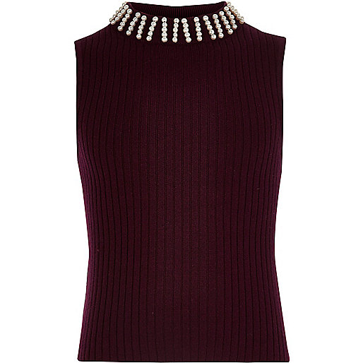 Girls dark red sleeveless knit top