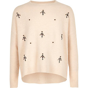 Girls cream embellished knit sweater