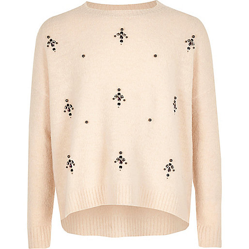 Girls cream embellished knit sweater