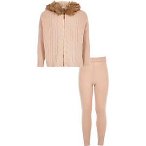 Girls pink cable knit cardigan set