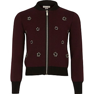 Girls burgundy embellished knit bomber jacket