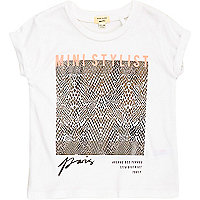 Mini girls grey foilprint t-shirt