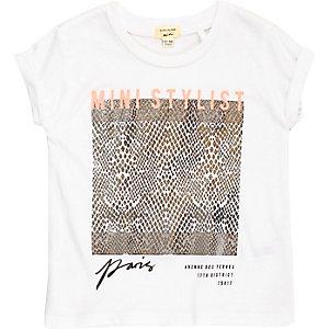 Mini girls grey foilprint t-shirt