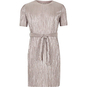 Girls silver pleated dress
