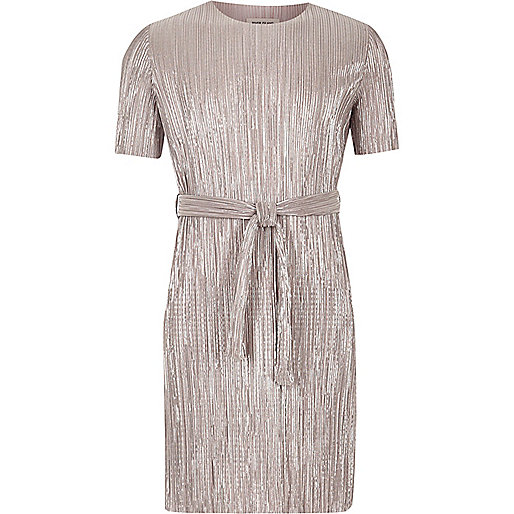 Plissiertes Kleid in Silber
