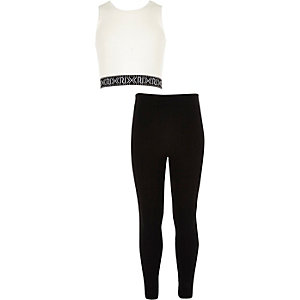 Girls white crop top and leggings outfit