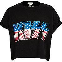 """Girls black """"Kiss"""" print t-shirt"""