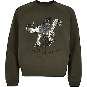 Girls khaki green sequin sweatshirt
