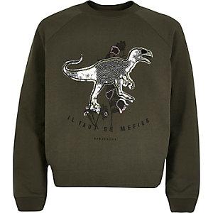 Sweatshirt mit Pailletten in Khaki