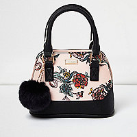 Girls pink floral print mini bag