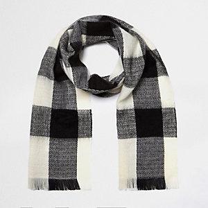 Girls black and white tartan scarf
