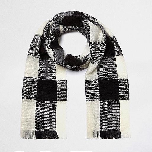 Écharpe en tissu écossais noire et blanche pour fille