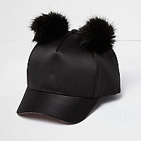 Girls black satin pom pom cap