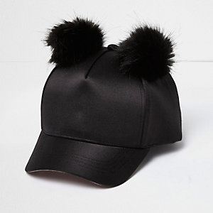 Girls black satin double pom cap