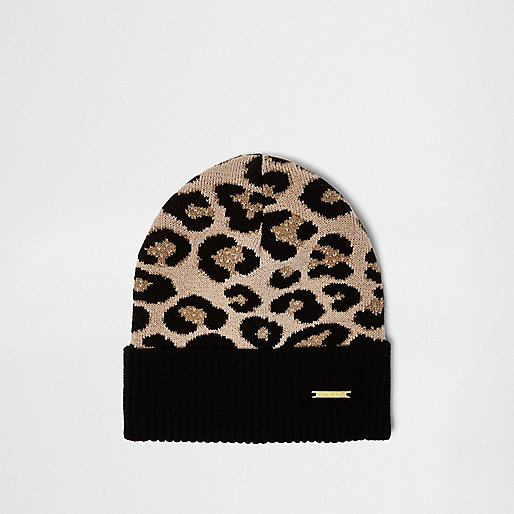 Girls black leopard print beanie