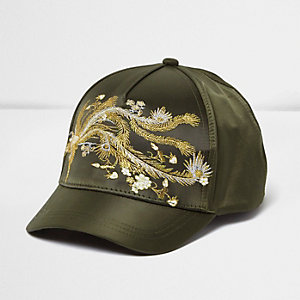 Girls khaki oriental embroidered cap
