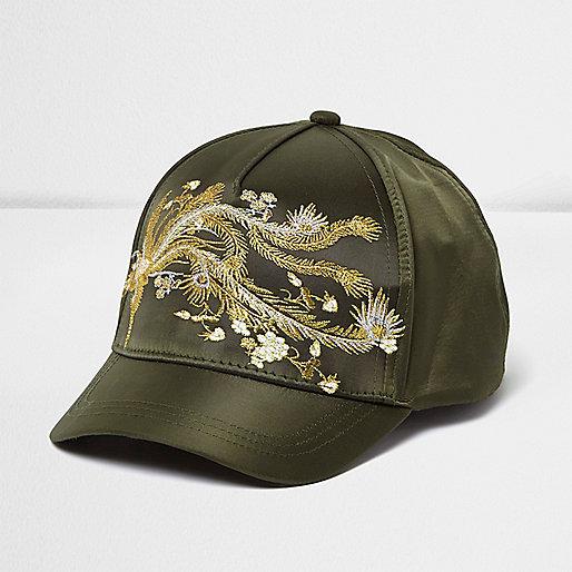 Girls khaki oriental embroidered cap