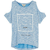Mini girls blue cold shoulder t-shirt