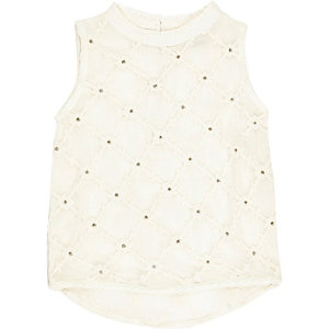 Mini girls cream cotton blouse