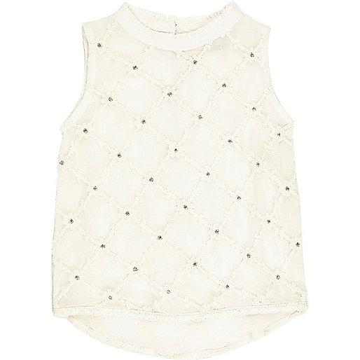 Mini girls cream cotton blouse