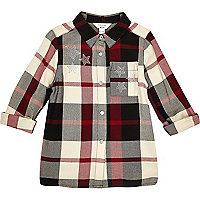 Girls black and red check star stud shirt