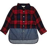Mini girls red layered plaid denim shirt