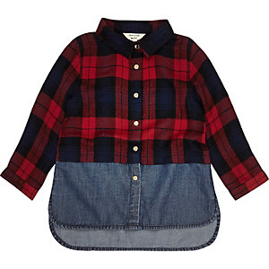 Mini girls red layered tartan denim shirt