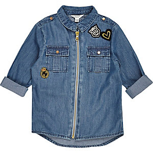 Mini girls zip badge denim shirt