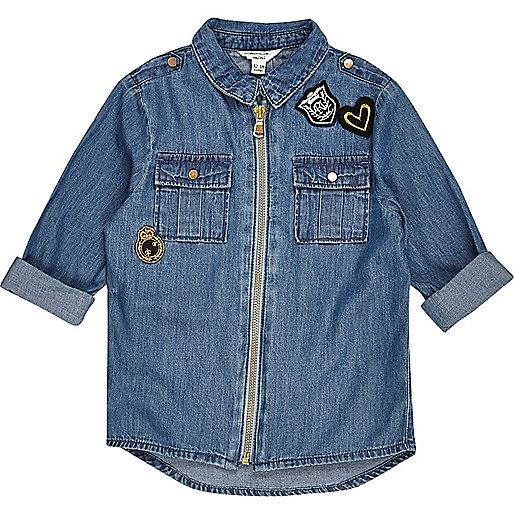 Mini girls zip badge denim shirt