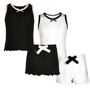 Girls black and white pointelle pyjama set