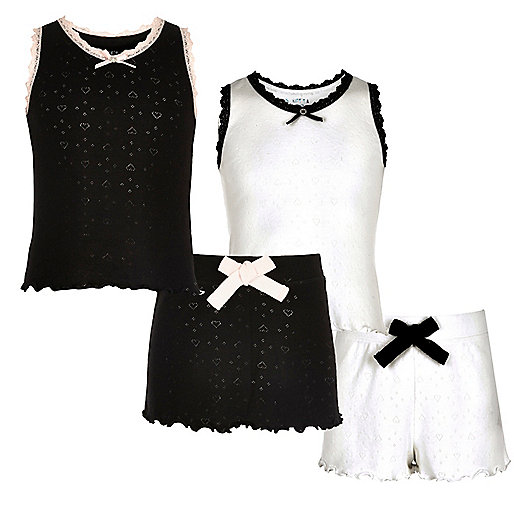Girls black and white pointelle pajama set