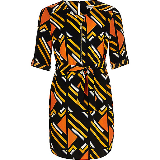 Robe chemise rayée orange pour fille