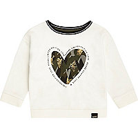Sweat imprimé cœur camouflage blanc mini fille