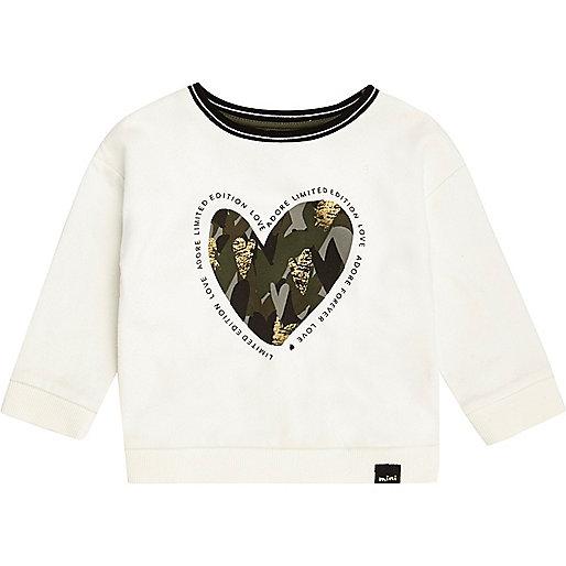 Mini girls white camo heart sweatshirt