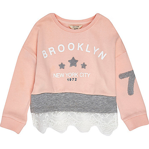 Rosa Spitzen-Sweatshirt