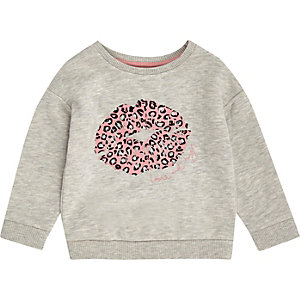Mini girls grey lips sweatshirt