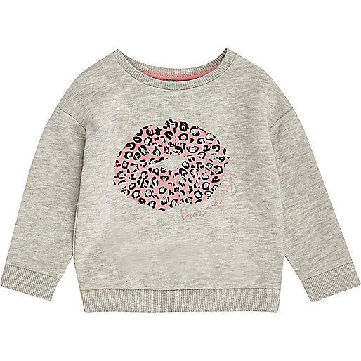 Sweat gris motif lèvres mini fille