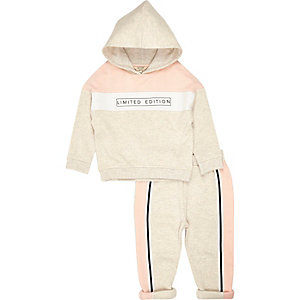 Mini girls stone printed hoodie jogger set