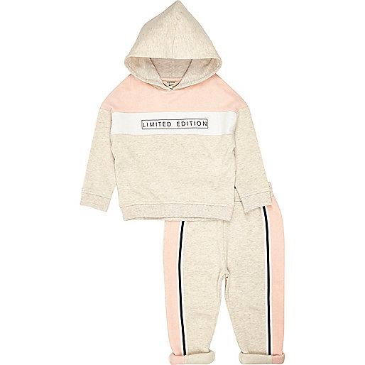 Mini girls stone printed hoodie legging set