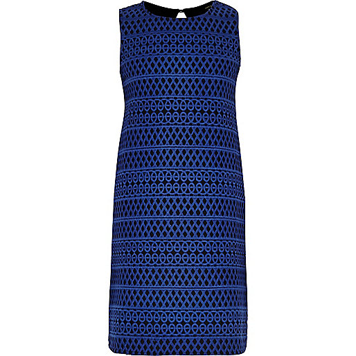 Girls blue bonded lace dress